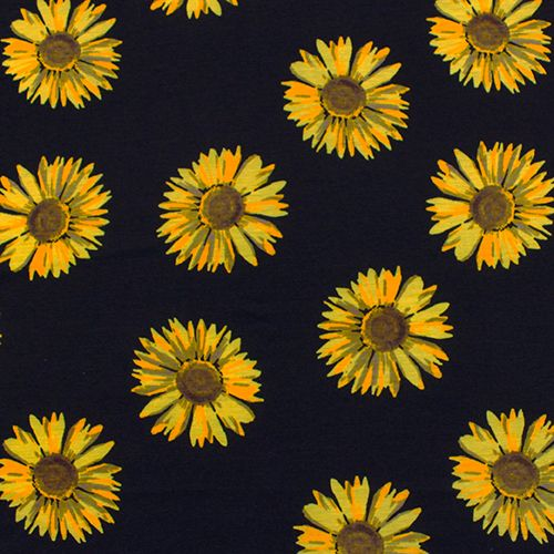 """Painted Sunflowers on Black Cotton Spandex Blend Knit Fabric - Pretty large scale yellow and orange painted effect sunflowers on a black color soft cotton jersey rayon blend with spandex for a nice stretch and good recovery.  Fabric is light to mid weight.  Sunflowers measures 3 3/4"""".  ::  $6.25"""