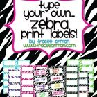 "Organize everything in your classroom with ""Zebra Print Labels You Can Customize"" - 10 per page, in Word (PC & Mac), PDF (PC and Mac), and Pages (Mac only). Also available in 30-labels per page size. (priced)"