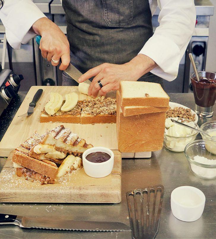 The banana toffee panini. Simple, sweet, sublime. Enjoy it this November at Michael's Genuine Pub.    #MGPUB #quantumoftheseas #thischangeseverything #michaelschwartz: Restaurant