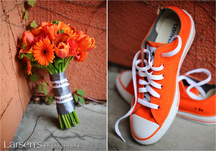 Orange bridal bouquet and brides shoes - Casey & Jennifer - Photography by Larsen's Photography
