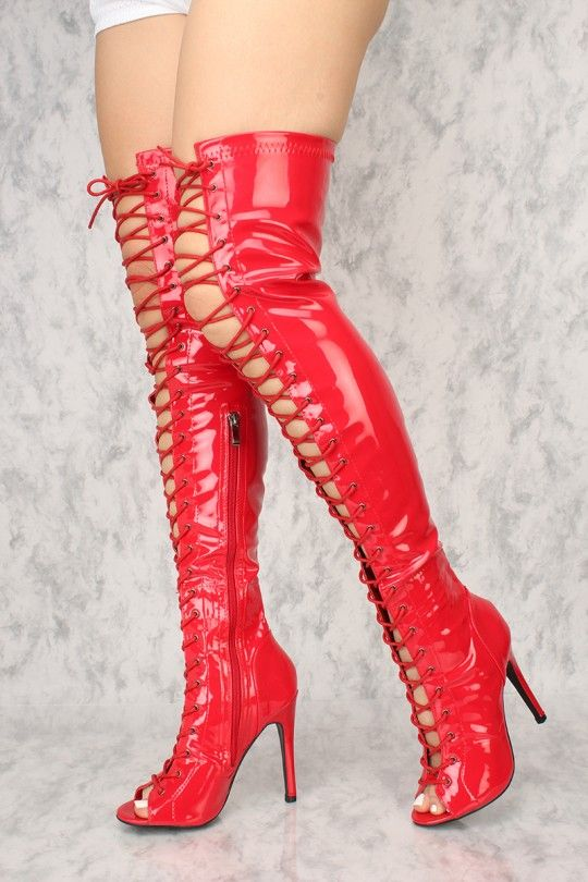 48a3debab42f Sexy Red Lace Up Open Toe Thigh High Boots Patent