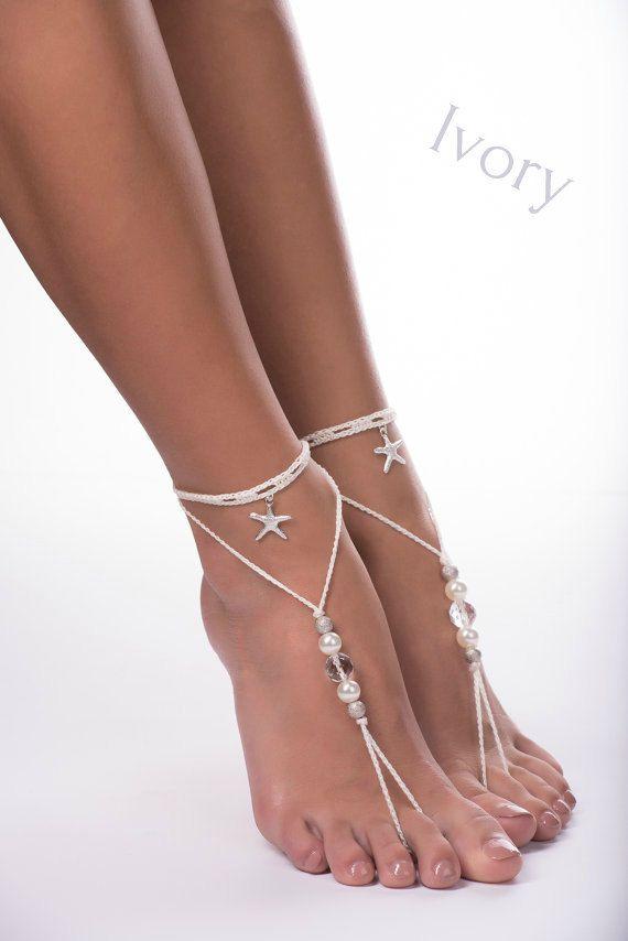 Cuentas sandalias Descalzas/Crochet sandalias por JuliannaStyle