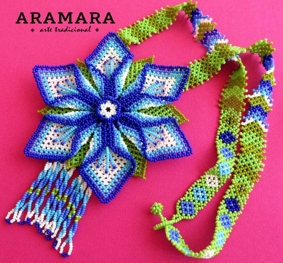 Mexican Huichol Beaded Flower Necklace CFG-0058 by Aramara