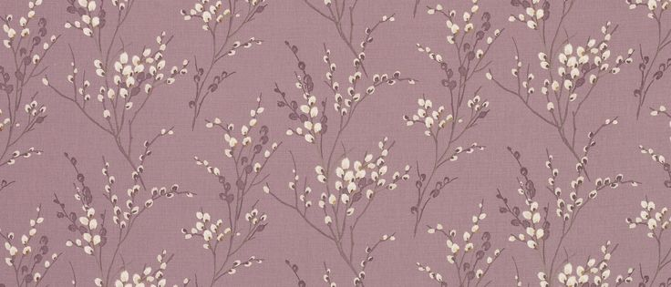 Pussy Willow Grape Floral Linen/Cotton Fabric at Laura Ashley