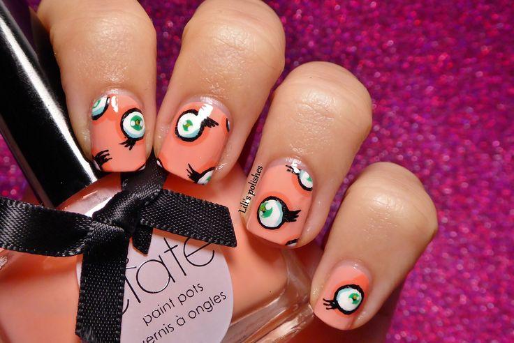 "Nailstorming #27 - Oeuvre d'art (1) Inspiration Takashi Murakami ""Jellyfish Eyes"""