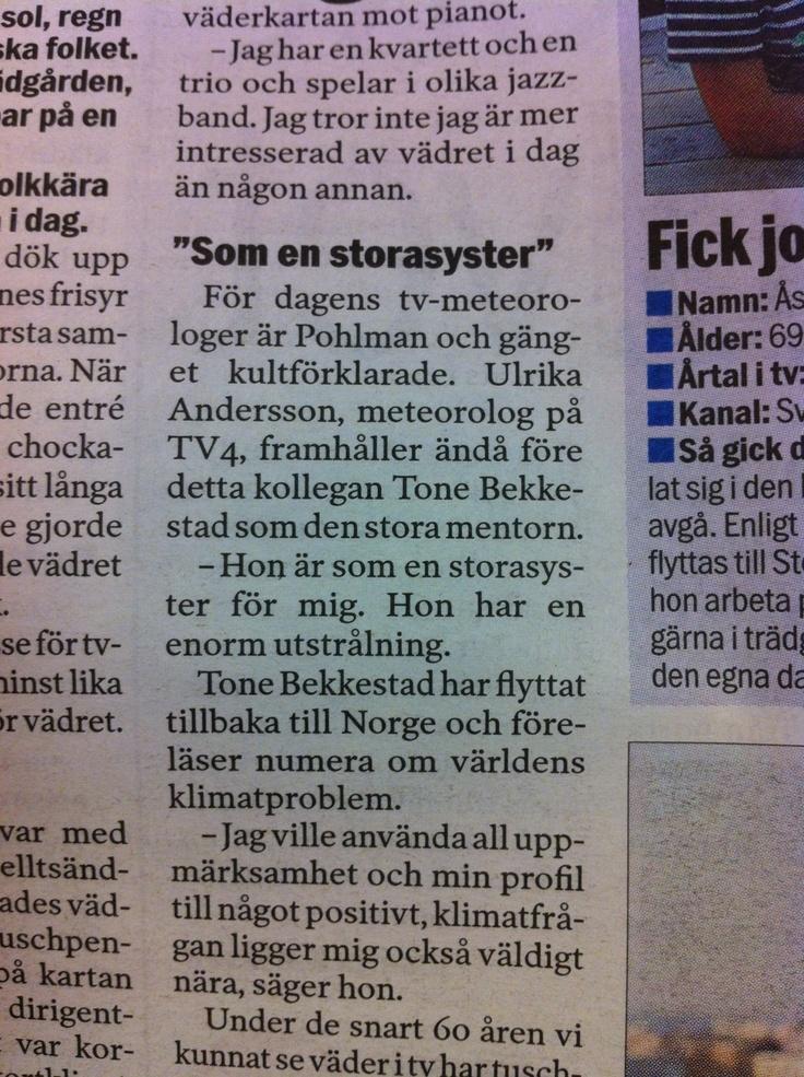 Roligt att få vara mentor för TV4:s duktigaste meteorolog - Ulrika Andersson. https://twitter.com/Solgudinnan