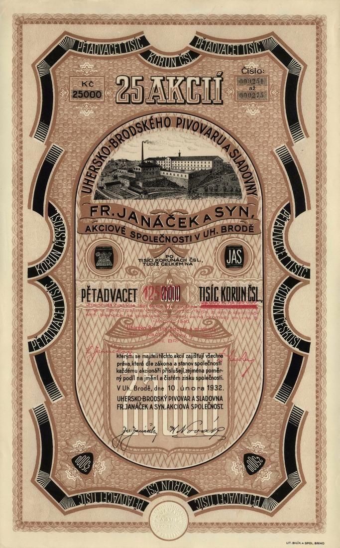 Uhersko-Brodský pivovar a sladovna Fr. Janáček a syn, akc. spol. (Ungarisch-Broder Bierbrauerei und Malzfabrik Fr. Janacek und Sohn AG.). Akcie na 25x 1 000 Kč (25 000 Kč). Uherský Brod, 1932.