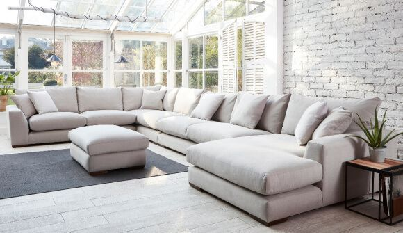 Kingston Large U Shaped Sofa In Romo Linara Chinchilla Corner Sofa Living Room U Shaped Sofa Corner Sofa Uk