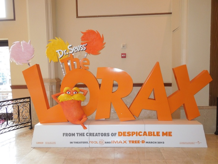 The Lorax movie theatre standee