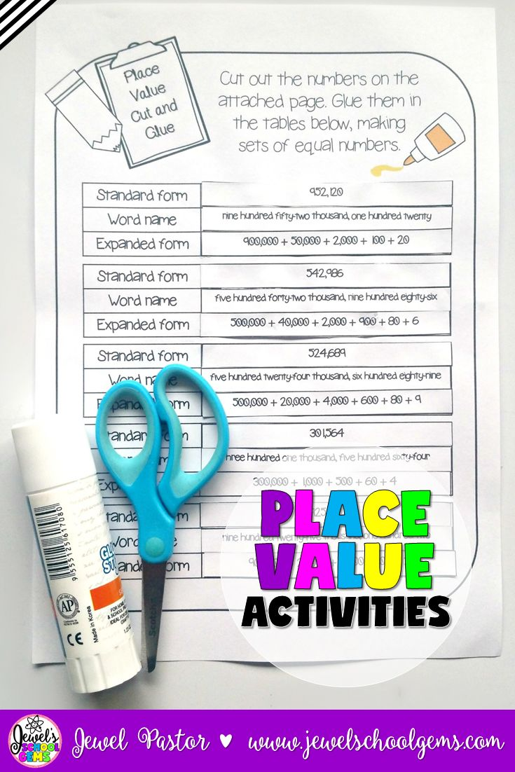 Place Value Activities by Jewel Pastor (TpT)   Looking for fun Place Value Activities? This place value resource consists of print and go sheets that can be used to learn about place value up to 999,999. This 73-page resource contains 'I Can' statements, an introduction to place value, worksheets on two-digit to six-digit numbers, and a place value digit game. Click through to purchase today!   place value worksheets   place value game