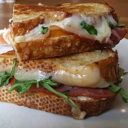 The Adult Grilled Cheese... creamy goat cheese, tomato, prosciutto, & arugula with melted harvarti holding it all together.