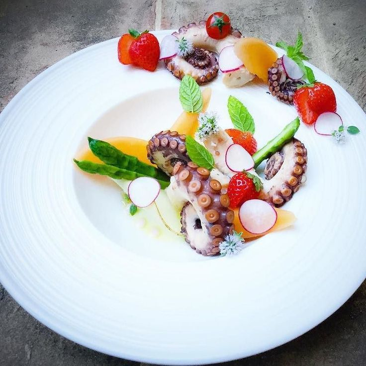 Octopus Melon Aspararagus Strawberries Soy-Mint Dressing