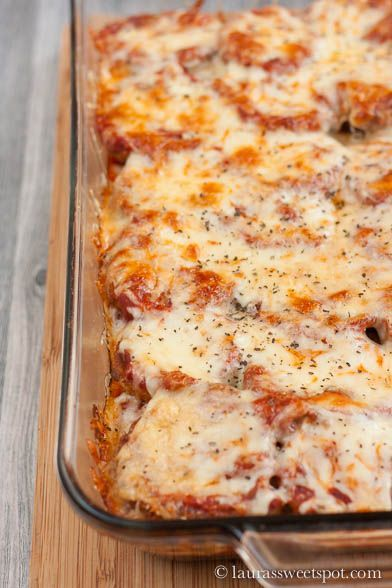 Love eggplant parm but don't want all the calories from fried food? Bake it! This recipe is just as delicious with a lot less fat calories!