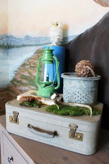 Camping room, woodland theme, lantern, suitcase, Minnow bucket, camping display, mural The Ragged Wren
