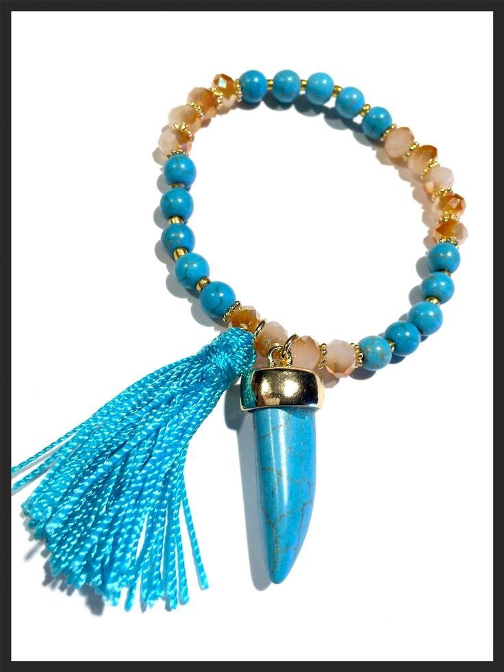 Turquoise Tassel and Shark Tooth Bracelet