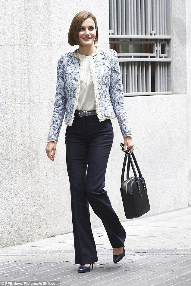 Queen Letizia of Spain shows off her style credentials as she arrives for a meeting with the Spanish Association Against Cancer (AECC) in Madrid