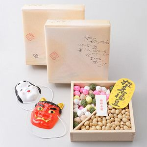 """""""Setsubun"""" is a traditional Japanese event, which falls on the 3rd of February. It is the day that divides two seasons: winter and spring. """"Devils out! Good luck in!"""". 豆を歳の数より一粒余計に食べて厄払い"""