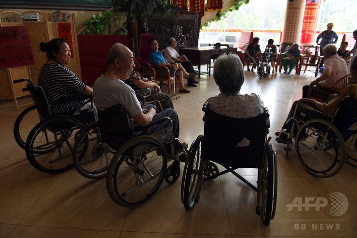 中国・北京(Beijing)市郊外にある老人介護施設の入居者(2014年7月1日撮影)。(c)AFP/Greg BAKER ▼7Aug2014AFP|高齢化進む中国の未成熟な介護市場 http://www.afpbb.com/articles/-/3022515 #Beijing