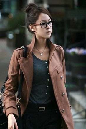 Coat and frames, sweater and upswept hairstyle are all so complementary! Great choices. -Lily