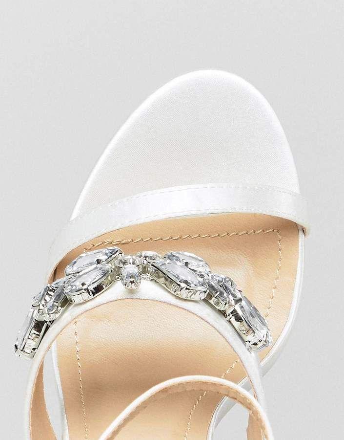 c93d311cae6 Be Mine Bridal Ayisha Ivory Satin Embellished Block Heeled Sandals  Ivory  Satin Bridal