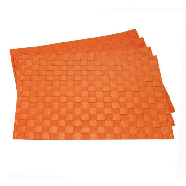 Orange Wipe Clean Placemat Set of 4 ($20) ❤ liked on Polyvore featuring home, kitchen & dining, table linens, orange placemats, orange place mats, orange table mats and orange table linens