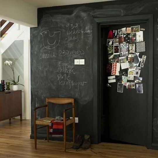 10 Unconventional ways to paint an interior. Love the idea of a chalkboard wall. That way Lillybug can make pretty pictures without having to scrub them off right away.