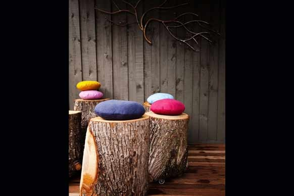The Block Australia 2012; Sophie and Dale's garden and exterior - Love the tree stump stools with cute cushions