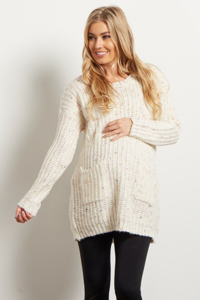 Brighten up your fall and winter wardrobe with this chunky knit, multi-colored maternity sweater. Light rainbow threading adds a unique twist to this basic sweater. Pair this with your favorite maternity jeans and boots to get a complete cold weather look.
