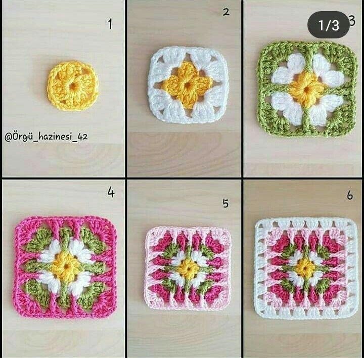 Square De Croche Com Flor Padroes De Quadrados De Croche Quadrados De Croche Quadradinhos De Croche