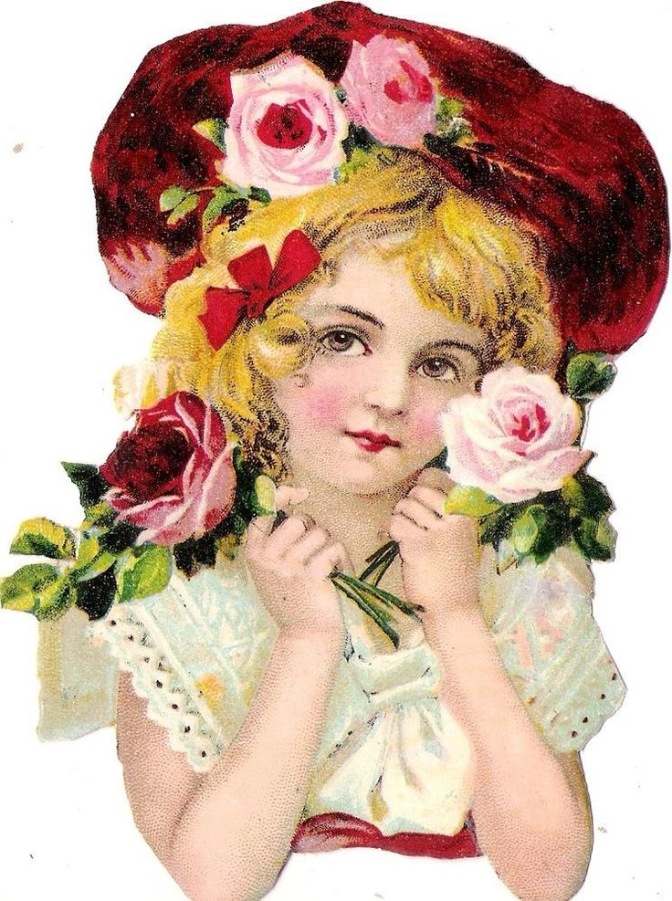 Oblaten Glanzbild scrap die cut chromo Kind child lady  13,5 cm buste girl rose