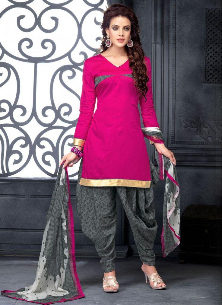 Hot Pink Print Cotton   Designer Patiala Salwar Kameez