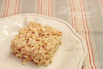 Vanilla Pudding Rice Crispy Bars: Vanilla Puddings, Krispie Bar, Hay Homemakin, Puddings Rice, Hayse Homemakin, Crispy Bar, Marshmallows Treats, Rice Krispie Treats, Rice Crispy Treats