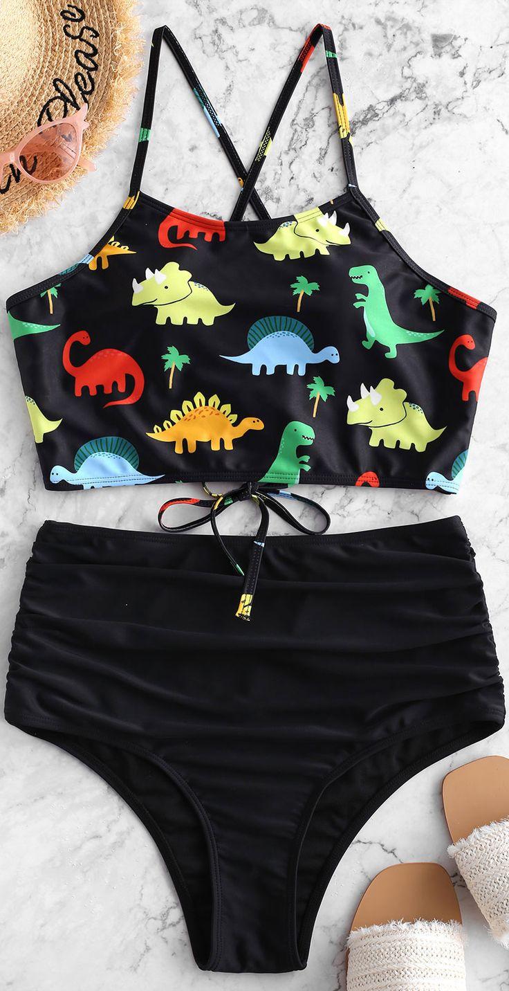 Dinosaur Lace Up Tummy Control Tankini Swimsuit