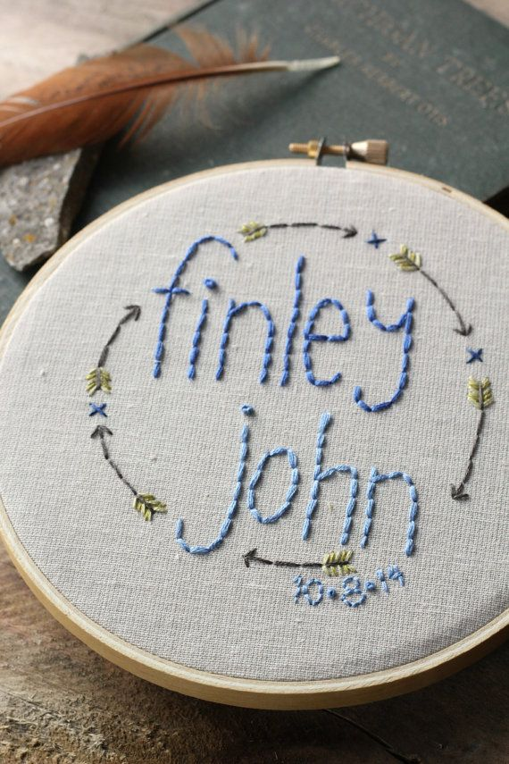Baby Name Embroidery Hoop / Personalized / by ThePennyRunner www.ThePennyRunner.etsy.com