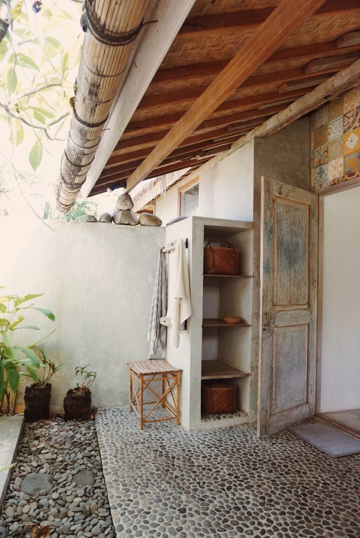 pebbles and tiles in this magical outdoor bathroom Loved this so much didn't…