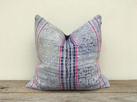 Vintage Hemp Ethnic Hand Print Patch Work Pink Pillow Case