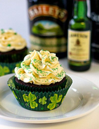 Guinness Cupcakes with Whiskey Ganache filling and Bailey's frosting.