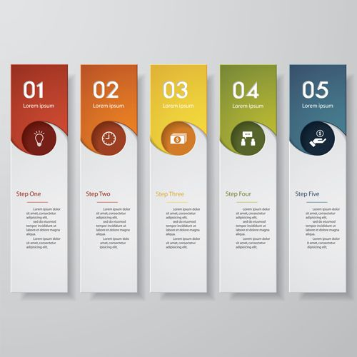 Numbered banners modern template vector 04