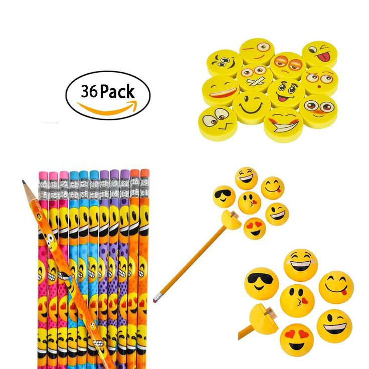 Rhode Island Novelty Emoji Party Favor and Giveaway Pencil, Eraser and Sharpener Gift Set, 36-Piece