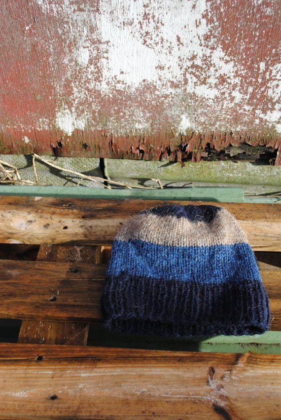 Hat Hand knit Dark blue hat with stripes organic by Kollestrik, $60.00