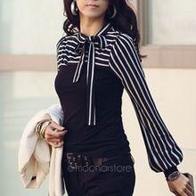 Moda OL Siyah Beyaz Çizgili Kadınlar Sonbahar Bluzlar Gömlekler Kadın Giyim Casual Gömlek Ilmek Uzun Kollu TopsE3256 # C8(China (Mainland))