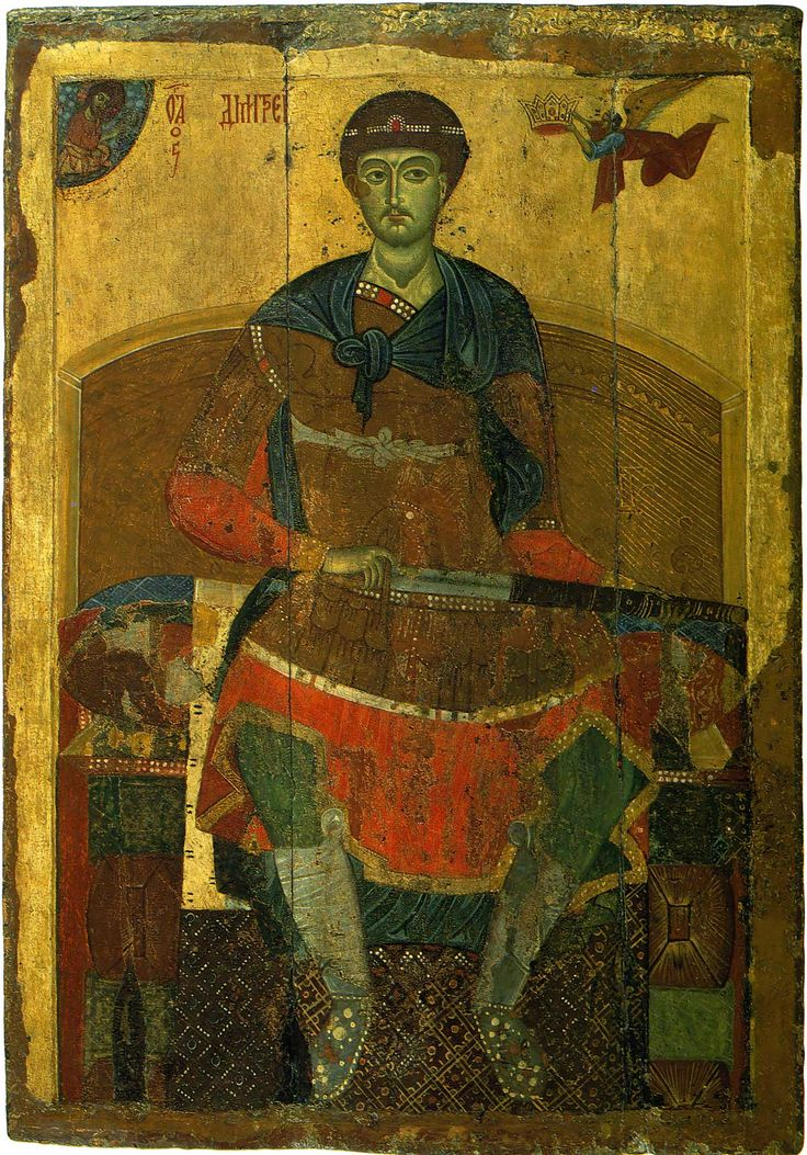 Saint Demetrius of Thessalonica. The Vladimir-Suzdal school icon from Assumption Cathedral in Dmitrov. Late XII century. State Tretyakov Gallery