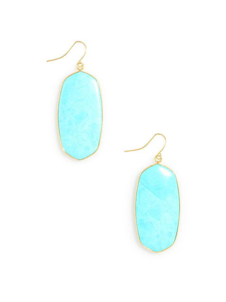 Marble Petal Drop earrings - Turquoise Marble