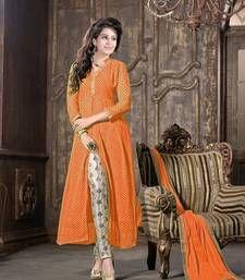 Buy Orange embroidered Georgette semi stitched salwar with dupatta wedding-salwar-kameez online