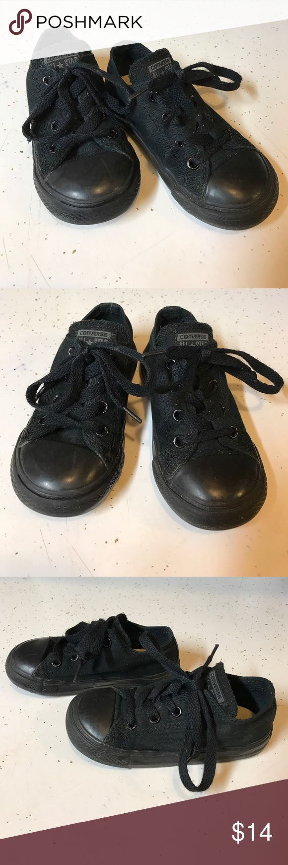 Black Converse Low Tops Toddler Size 7!! Rad black on black Converse low tops. These were the cutest on our son! These have been used, but still in good condition! Converse Shoes Sneakers