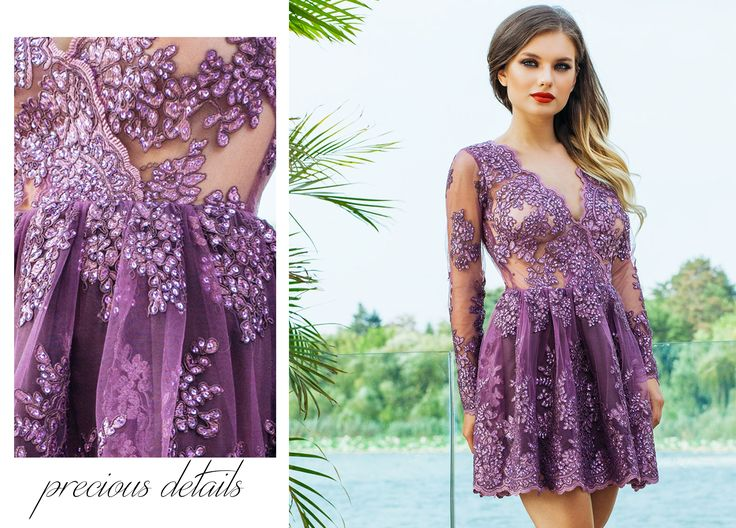 Lilac short evening dress with handmade embroidery and precious details: http://bit.ly/lilac-short-evening-dress-with-precious-lace