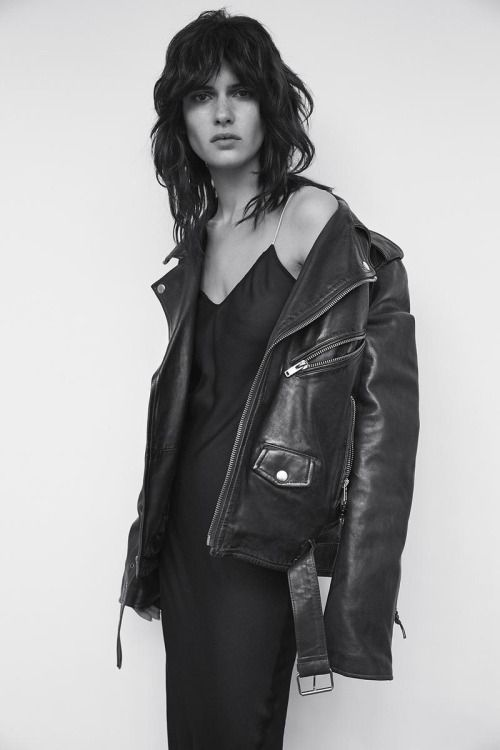 vintage over-sized leather jacket + minimal silk dress