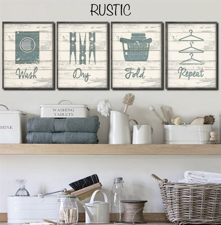 Set of 4 Rustic Chic Laundry Prints | Jane