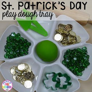 St. Patrick's Day play dough tray plus FREE ten frame shamrock cards for preschool, pre-k, and kindergarten. A fun way to build fine motor strength.