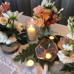 {Wedding Style} Copper/ Boho style. Love it ? Want it ? It's on our online consultation form. Lace runner, signature foliage overlay, copper / glass / Himalayan salt tea lights, stunning blooms, pillar candles, copper geometrics, fairy lights. ITS HOT RIGHT NOW www.coperbeech.com.au #weddings #weddingflowers #northernbeachessydney #northernbeacheswedding #copper